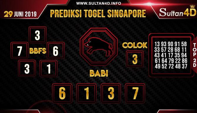 PREDIKSI TOGEL SINGAPORE SULTAN4D 29 JUNI 2019