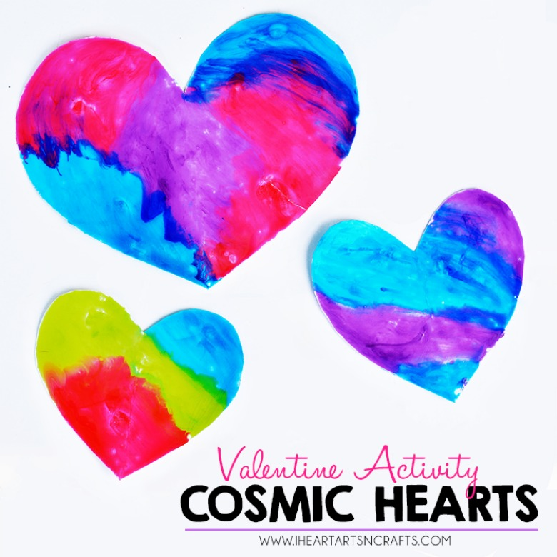 cosmic heart Valentines Day crafts for toddlers