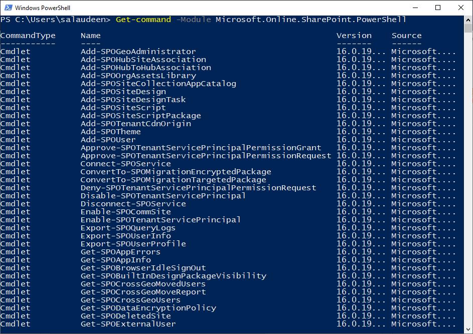 Get-command -Module Microsoft.Online.SharePoint.PowerShell