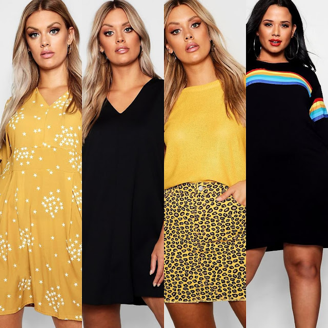Plus Star Print Plunge Skater Dress ||  Plus V Neck Shift Dress || Plus Coloured Leopard Frayed Hem Skirt || Plus Rainbow Print T-shirt Dress
