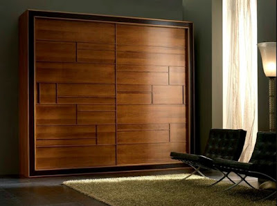 Wooden wardrobe idea with sliding doors