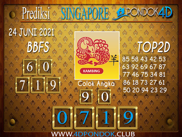 Prediksi Togel SINGAPORE PONDOK4D 24 JUNI 2021