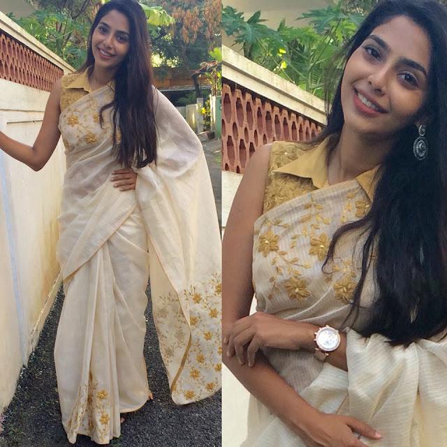 Tamil Actress Aishwarya Lakshmi Latest Cute Pics In Saree Actress Trend