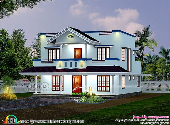 Sloping roof style Kerala house rendering