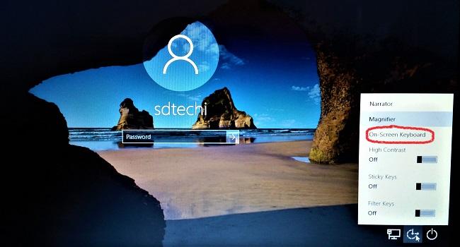 virtual keyboard on windows account login screen
