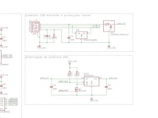 Circuitos referentes ao conector USB a montante e à interrupão de potência.