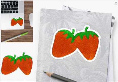 Strawberries Watercolor Sticker
