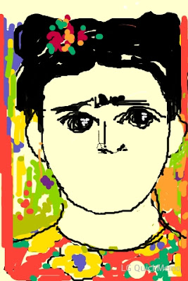 Frida Kaloo. desenho de Frida. rosto incompleto