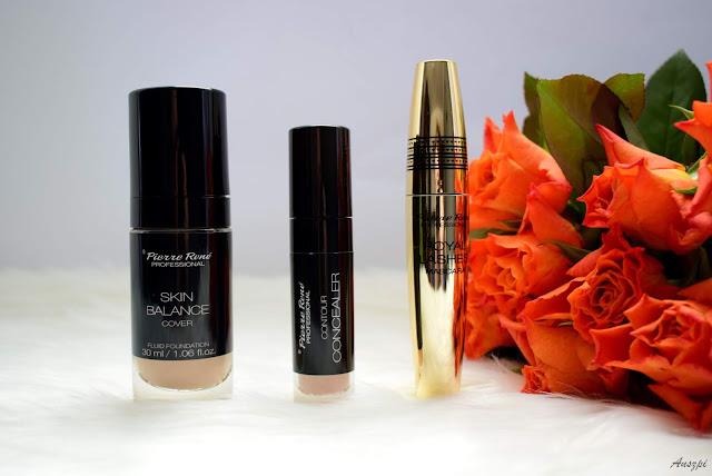 Fluid Skin Balance Cover, korektor pod oczy Contour Concealer, tusz wydłużająco-pogrubiający Royal Lashes Mascara Pierre Rene