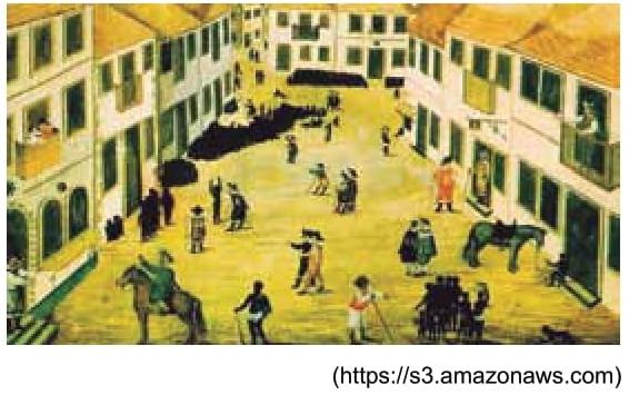 O desenho de Zacharias Wagener (1614-1668) reproduz uma cena que se passa em 1641 na Rua dos Judeus de Recife, Pernambuco, e expressa