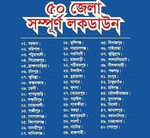 দেশের ৫০ টি জেলায় রেড জোন হারি ।গ্রীন জোন মাত্র ১টি জেলা