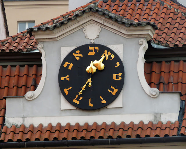 Clock with Hebrew numerals (letters), Židovská radnice (Jewish Town Hall), Josefov, Prague