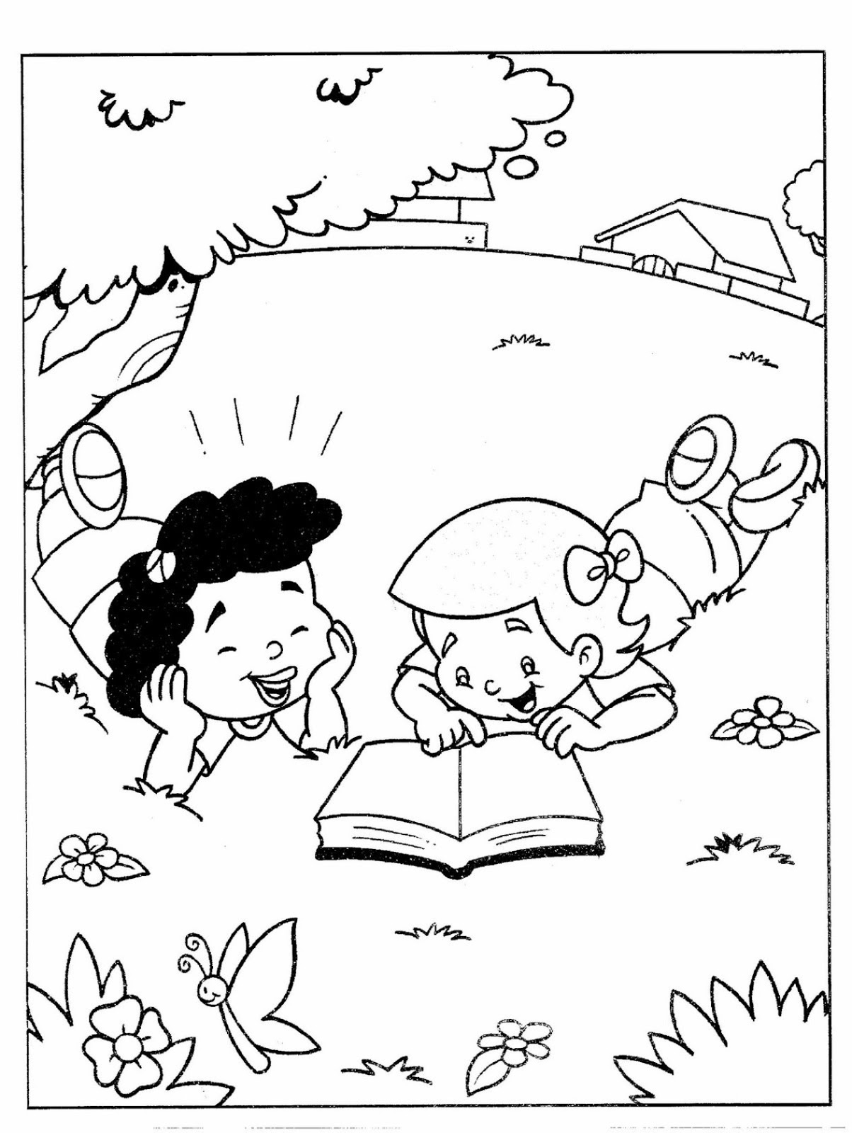Niñas leyendo la biblia para colorear ~ Dibujos Cristianos