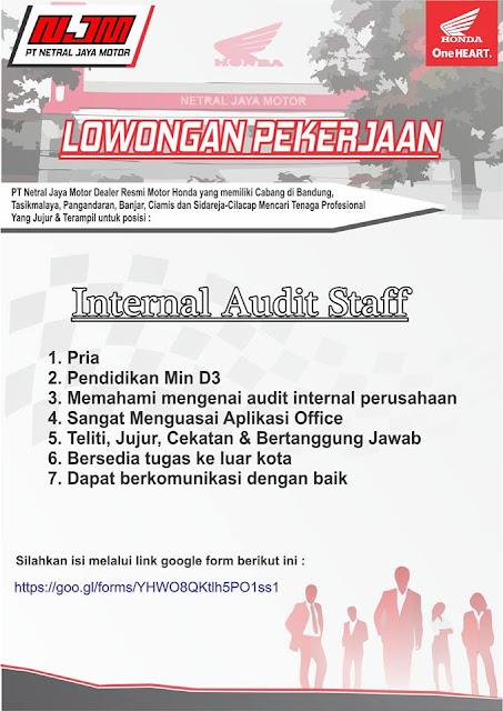 lowongan kerja internal audit staff netral jaya motor bandung