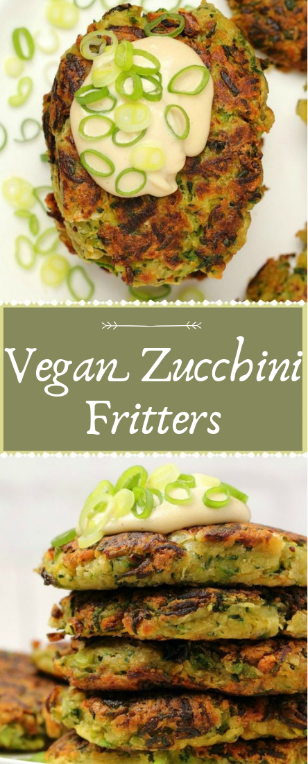 Vegan Zucchini Fritters #vegan #recipevegetarian