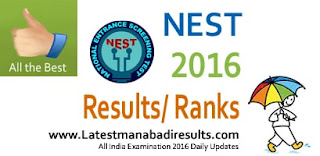 NEST Results 2016,NISER NEST 2016 Results,National Entrance Screening Test 2016 Results,