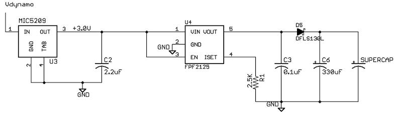 bicycle lighting: charging supercapacitors