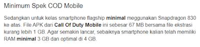 Spesifikasi minimal hp Android agar lancar bermain game Call Of Duty Mobile