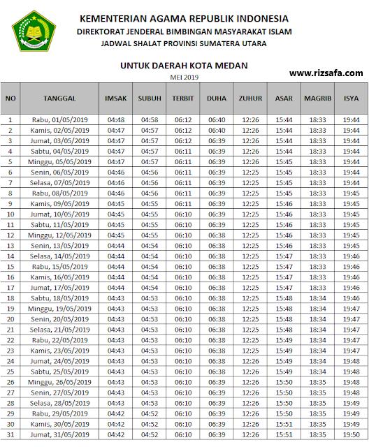 Jadwal Imsakiyah Wilayah Kota Medan Ramadhan 1440 H/2019 ...