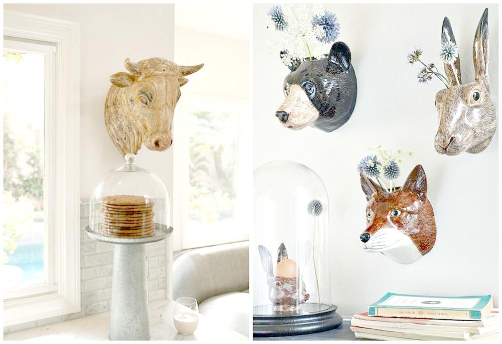 dekoracja z głowami zwierząt