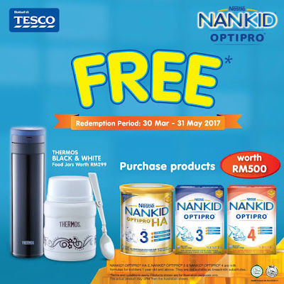 Nestle Malaysia Nankid Optipro Thermos Black and White Food Jars