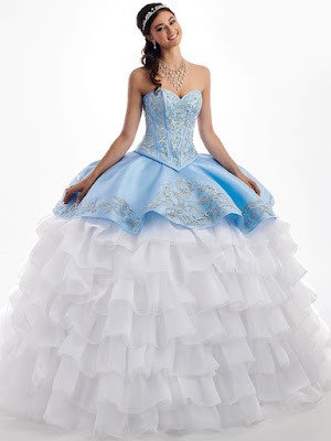 Mary's Quinceanera New Ball Gown Ice Blue/white Dress