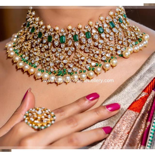 Polki Emerald Jadau Choker and Ring
