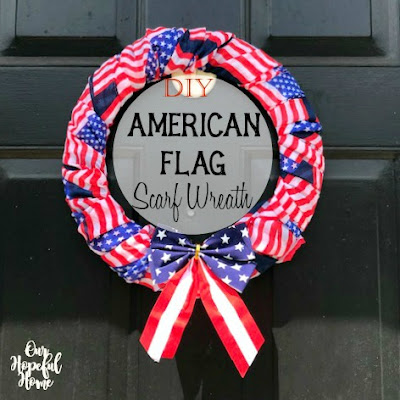 DIY American flag wreath Fourth July holiday porch decor