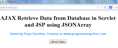AJAX Fetch Data from Database in JSP and Servlet using jQuery | programming-free.com