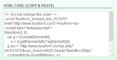 Foxyform Generated codes for Contact us page