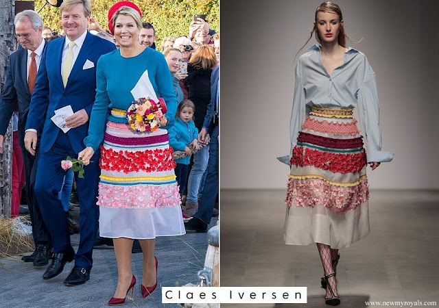 Queen Maxima wore a colourful midi skirt from Claes Iversen