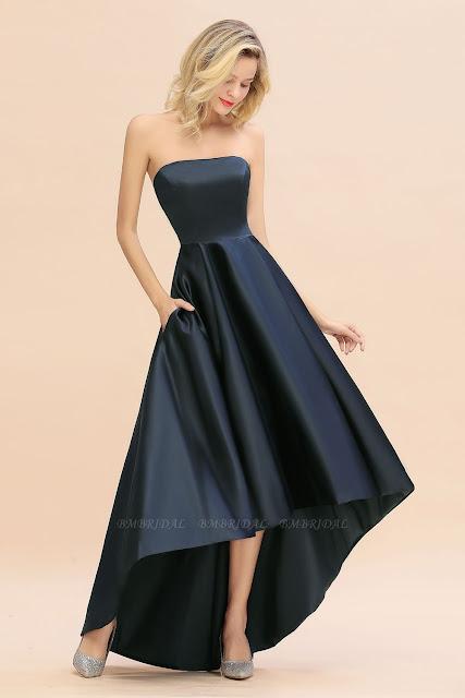 Cheap Hi-Lo Strapless Bridesmaid dresses