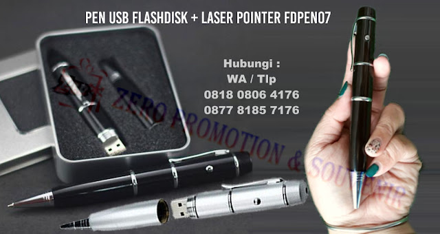 Ballpoint Flashdisk 8GB (Real Capacity) + Laser Pointer, USB Pen 3 in 1 ( Laser pointer, Flash disk 8 GB & Pen )