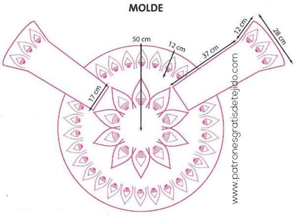 molde de saco circular crochet