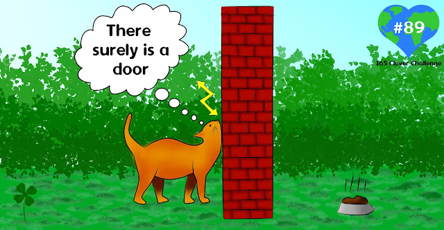 A drawing of a cat walking against a wall thinking 'there surely is a door'