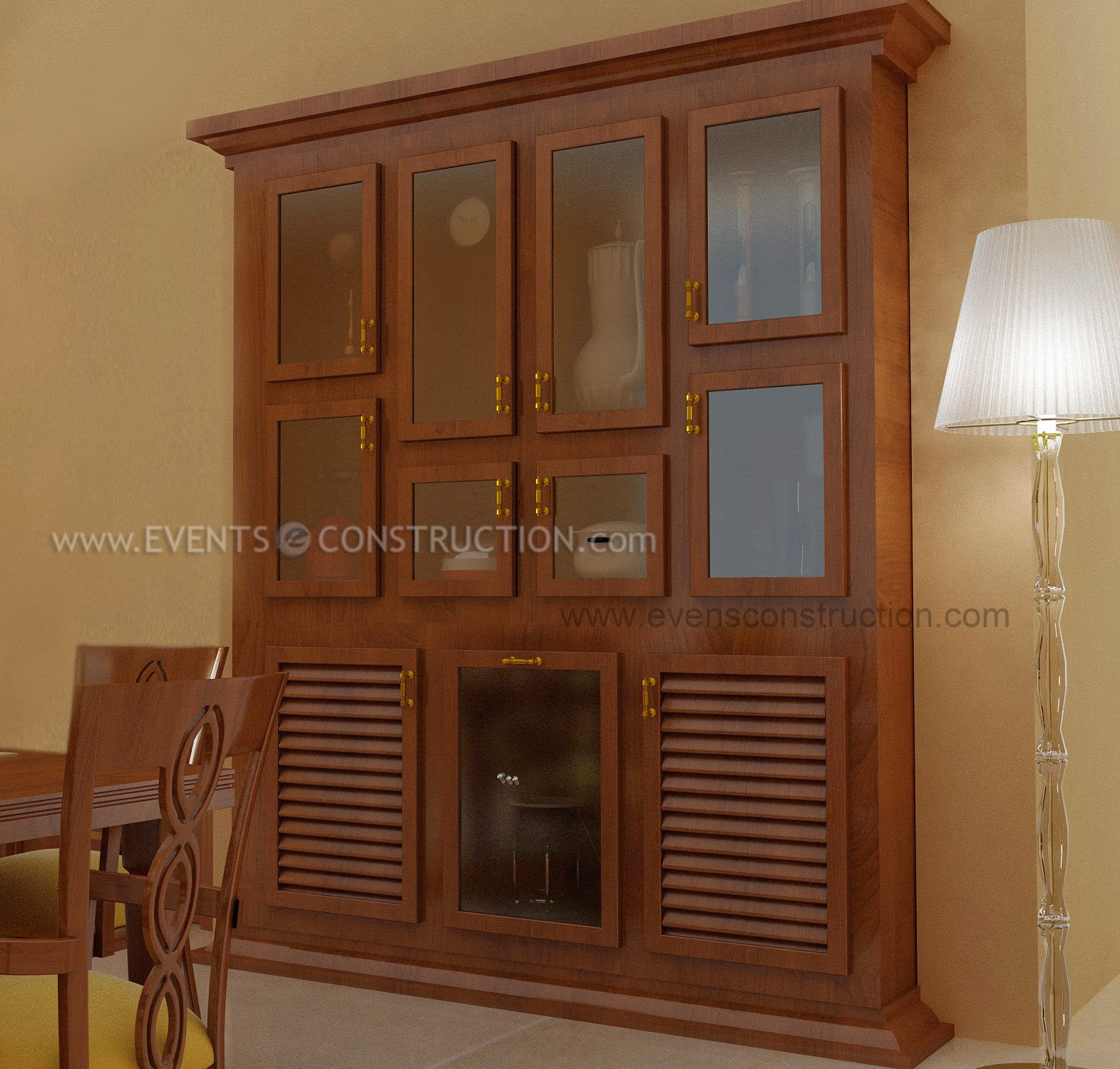 Shelves In Dining Room: Evens Construction Pvt Ltd: Crockery Shelf Designed For