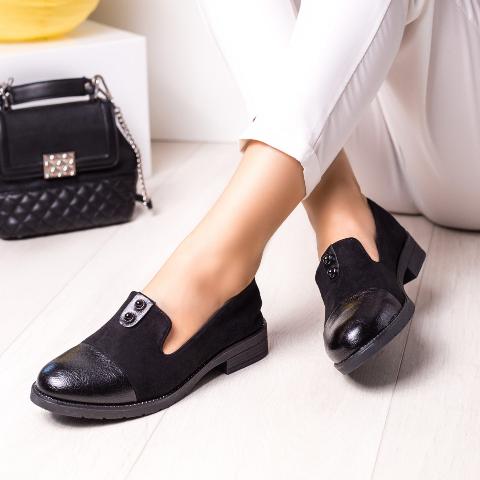 Pantofi casual negri din piele ecologica intoarsa fina
