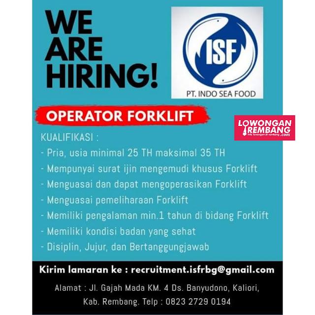 Lowongan Kerja Operator Forklift PT Indo Sea Food Rembang