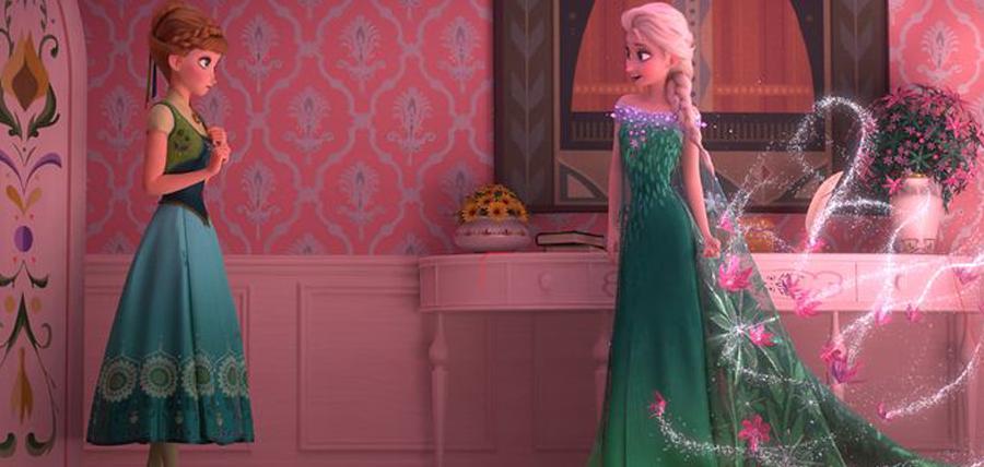 Anna şi Elsa în animaţia Frozen Fever