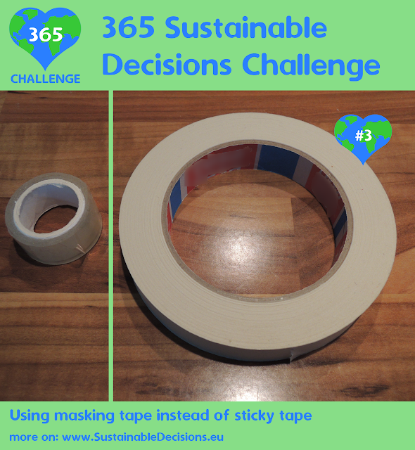 Using masking tape instead of sticky tape reducing plastic waste