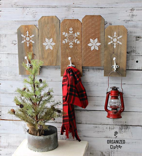 Rustic Stenciled Snowflake Wall Hooks