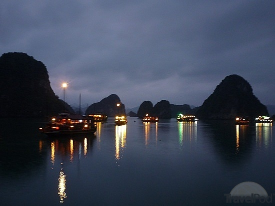 Taking The Photo Shoots In Halong Bay Of The Skyline At Night