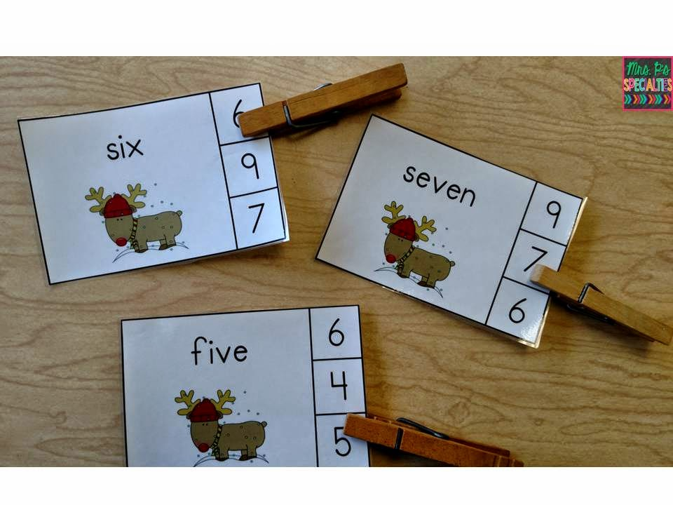 photo of number clip cards with clothespins