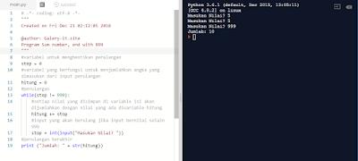 Belajar Python Pemula : Program Looping Penjumlahan Dari Banyaknya n Bilangan yang Diinputkan