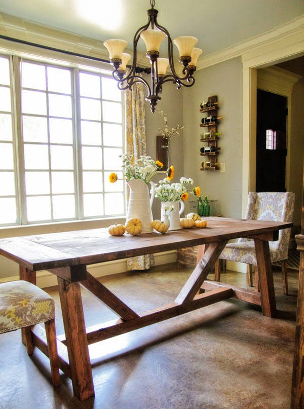 dining table with wooden legs  chairs with fabric