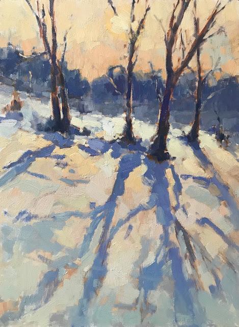 #442 'Snow Shadows' 30x40cm