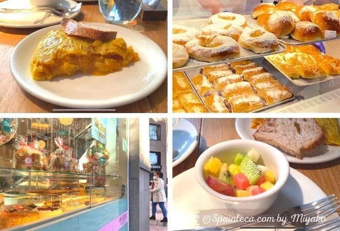 週末のマドリードの朝ごはん用卵料理とフルーツ盛りと菓子パン