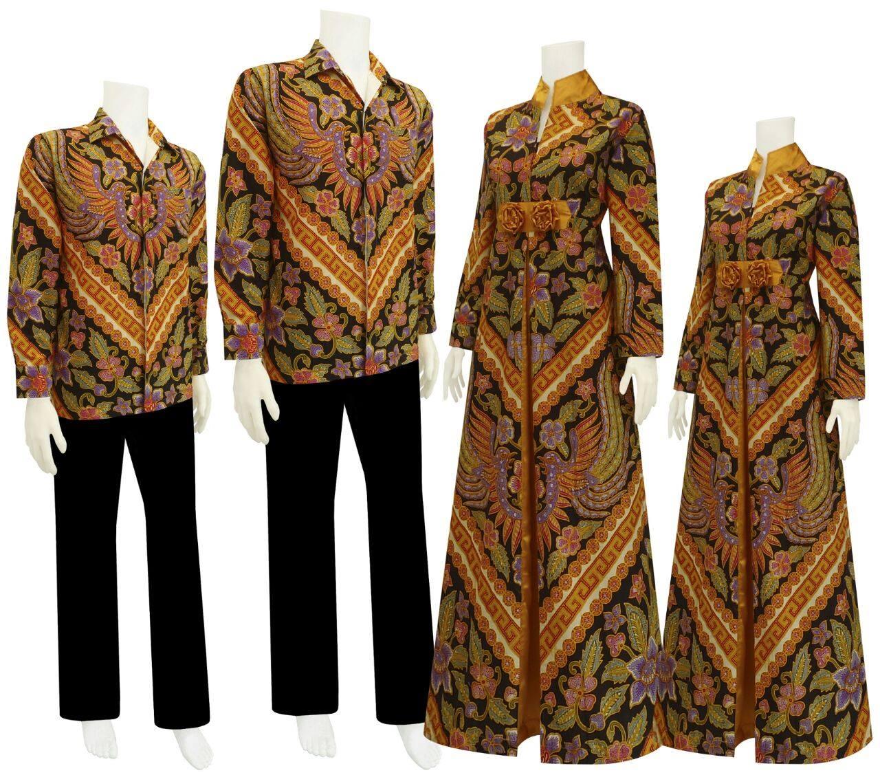 Model Baju Gamis Perpaduan Batik: Model Baju Gamis Batik Motif Garuda Kembar