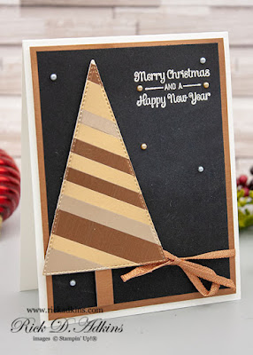 Learn how to use scraps to create a Brushed Metallic Christmas Tree Christmas card using Itty Bitty Christmas Greetings Stamp Set