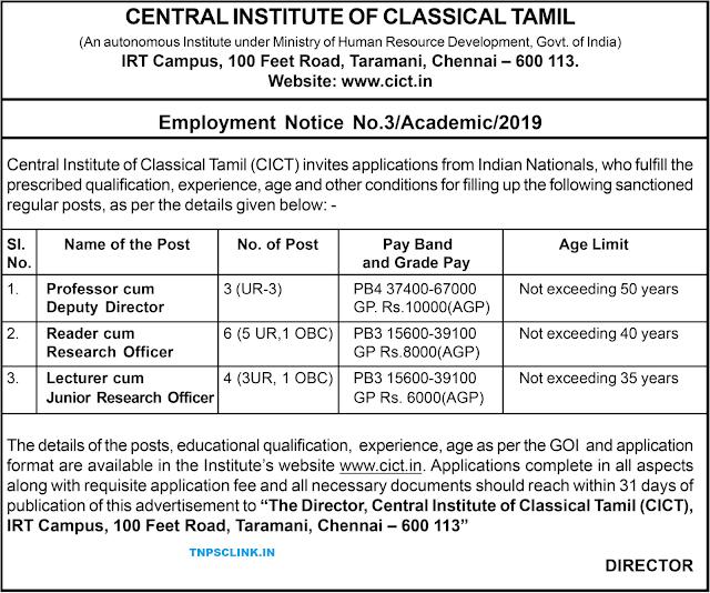 CICT Chennai Recruitment 2019
